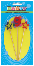 Number Nine 9 Number Stars Birthday Cake Candles